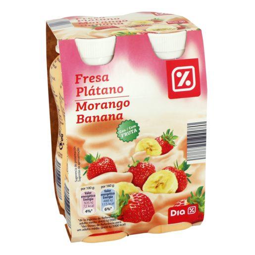 DIA Iogurte Líquido Polpa Morango e Banana 4x160 g