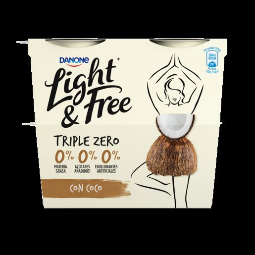 LIGHT & FREE Iogurte Magro Pedaços Coco 4x115 g